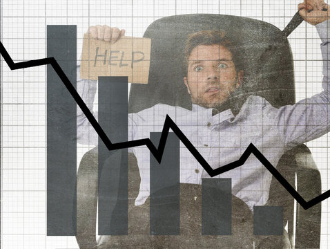 bar graph of low sales and bankrupt prevision grunge dirty composite design with tired frustrated businessman