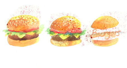 Watercolor set with different burgers