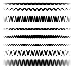 Wavy, zigzag line set with different level of distortion