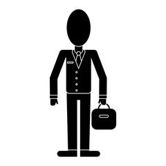 business man suit necktie and portfolio pictogram vector illustration eps 10