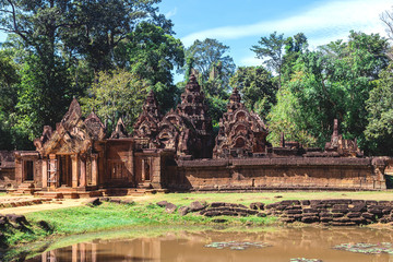 Tower and galleries in Banteay Srei, Siem Reap, Cambodia.