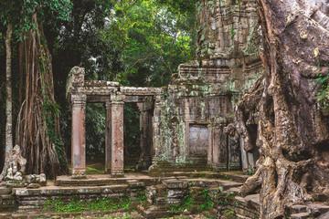 Tower, huge trees and galleries in Preah Khan Temple