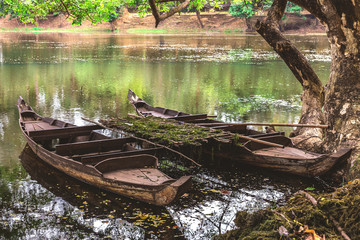 Old wooden fishing canoe, Siem Reap, Cambodia.