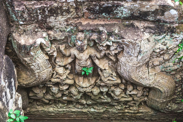 Carved structure and relief in Angkor Thom, Bayon