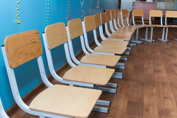 Many small chairs.