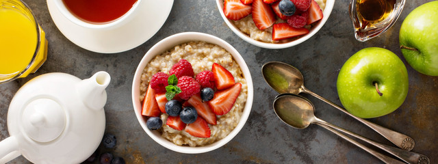 Steel cut oatmeal porridge with fresh berries