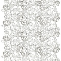 Seamless monochrome floral pattern stock vector illustration