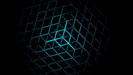 3D Abstract Geometric Neon Background 3d Rendering