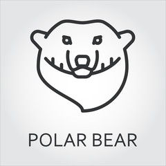 Black icon style line art, head wild animal polar bear, sea bear.