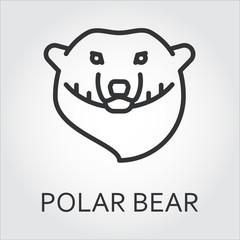 Black icon style line art, head wild animal polar bear, sea bear.