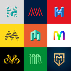 """Letter """"M"""" big logo pack. Creative vector monograms. Striped, ribbon, colorful, isometric, linear, 3d logos.Eps10 format."""