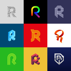 "Letter ""R"" big logo pack. Creative vector monograms. Striped, ribbon, colorful, isometric, linear, 3d logos.Eps10 format."