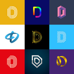"Letter ""D"" big logo pack. Creative vector monograms. Striped, ribbon, colorful, isometric, linear, 3d logos.Eps10 format."