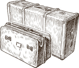 sketch of the vintage suitcases