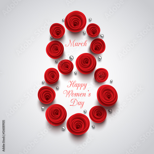 International Happy Women's Day background. 8 march greeting card. Beautiful flowers composition. Vector