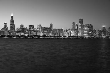 Chicago skyline at sunset black and white