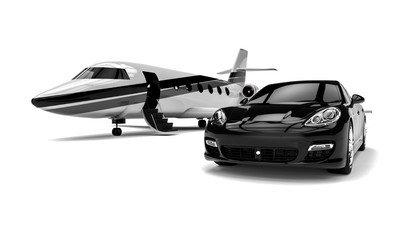 Private jet with a Luxury Car / 3D render image representing a private jet and a uxury car