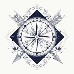 Compass and crossed arrows tattoo art. Symbol of tourism