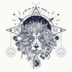 Mystic lion tattoo art. Alchemy, religion, spirituality
