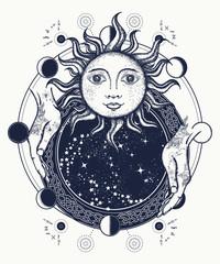Magic mirror tattoo art. Antique sun, fortune teller hands