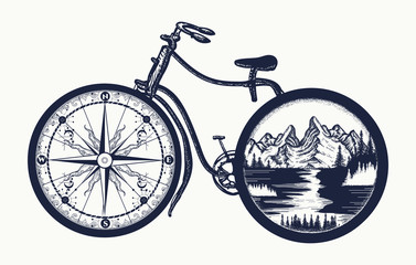 Bicycle tattoo art. Symbol of travel, tourism, adventure