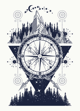 Mountains and antique compass tattoo art. Adventure, travel