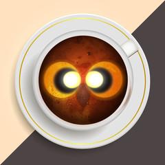 Owl drinking coffee