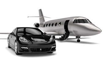 Private jet with a Luxury Car / 3D render image representing a private jet and a luxury car