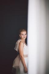 Portrait of beautiful bride in wedding day.