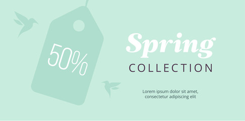 Spring big sale banner with tag and birds. Elegant mint poster. Vector green backround.