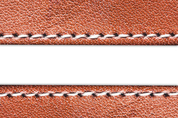 Empty white copy space sewed brown leather background.