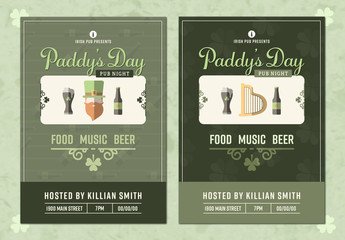 Two Illustrated St. Patrick's Day Event Poster Layouts