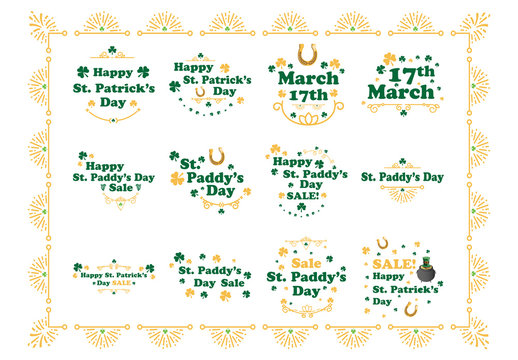 St. Patrick's Day Typography and Embellishment Illustrations 3