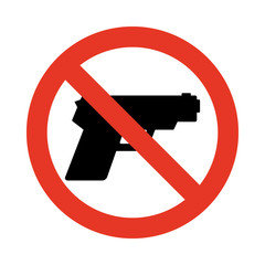 No gun sign. Prohibiting sign for weapons