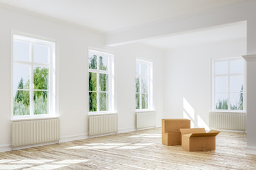 3D Illustration of  empty boxes on floor of apartment
