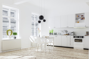 3d rendering of kitchen interior in modern home with dinner tabl