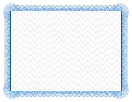 Classic style Certificate with light blue floral border