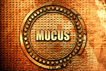mucus, 3D rendering, text on metal
