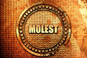 molest, 3D rendering, text on metal