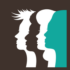 Silhouettes of four multicultural women. Profiles of women looking forward in solidarity. EPS 10 vector.