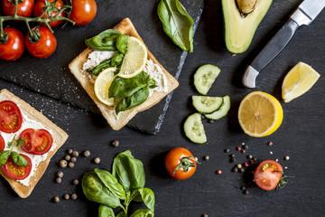 set of healthy foods