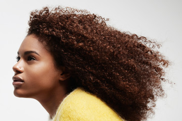 black woman's portrait showing her beauty curly afro hair