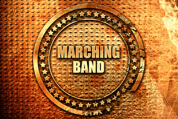 marching band, 3D rendering, text on metal