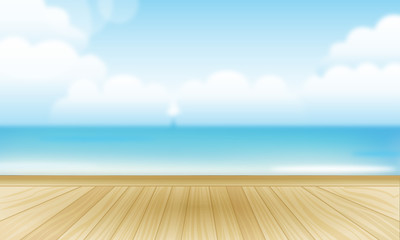 wooden floor sea view background