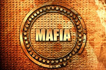 mafia, 3D rendering, text on metal