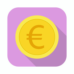 Money currency icon. Coin with Euro sign vector illustration.