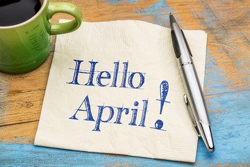 Hello April on napkin with coffee Wall mural