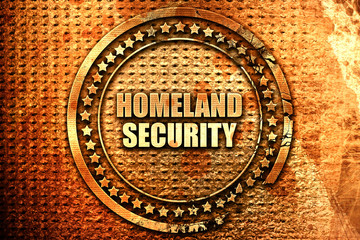 homeland security, 3D rendering, text on metal