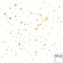 Gold stars. Confetti celebration, Falling golden abstract decora