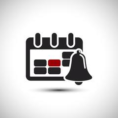 Alarm Calendar Icon. Bell Vector Illustration. Flat Vector Icon.